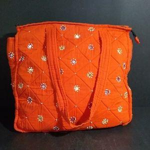 Handbags - Orange Quilted Fabric Shoulder Bag